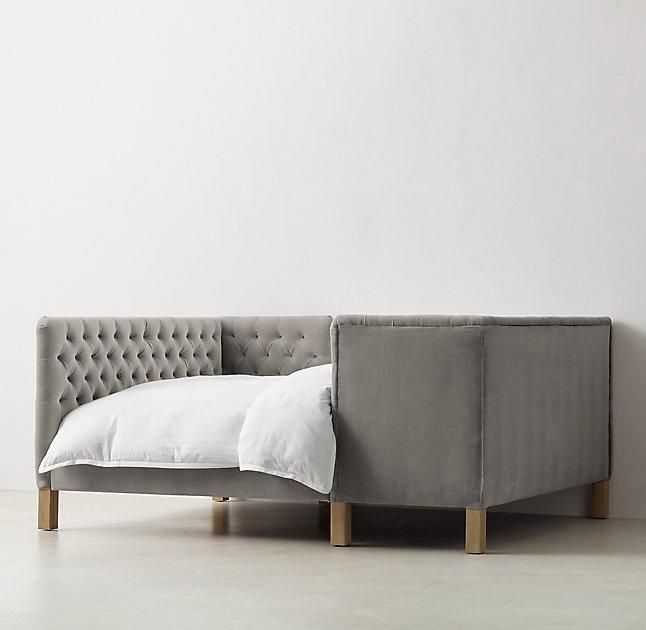 Superior Devyn Grey Tufted Tete A Tete Velvet Bed