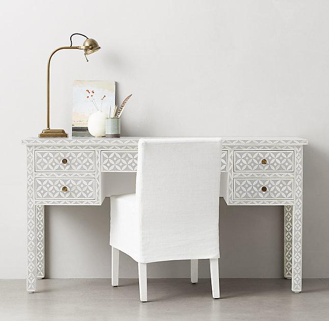 Salma White And Grey Mosaic Storage Desk