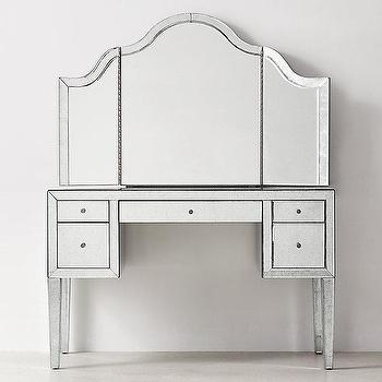 Beaumont Silver Vanity And Mirror Hutch Set
