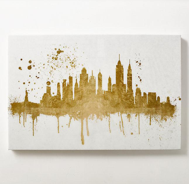 Skyline Metallic Gold Black Art