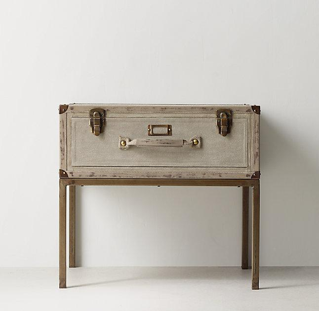 Glaston Distressed Khaki Trunk Suitcase Nightstand - Redford Trunk Beige Bedside Table