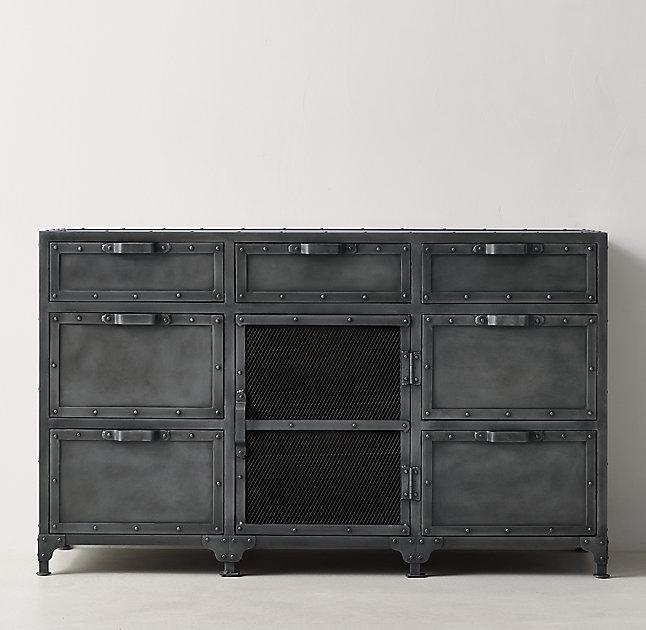 Eldon Black Steamer Trunk Wide Dresser