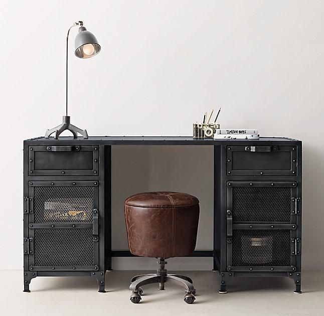 Potrero Hill Distressed Black Metal Student Desk