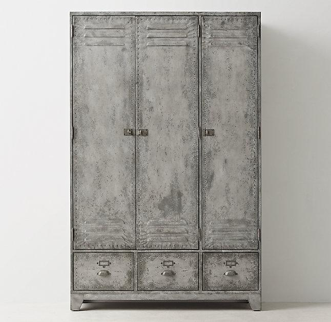 Attractive Kemp Distressed Silver Locker Cabinet