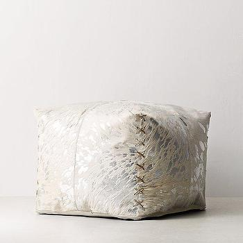 Moroccan Patchwork White Hair Hide Pouf Interesting White And Gold Pouf