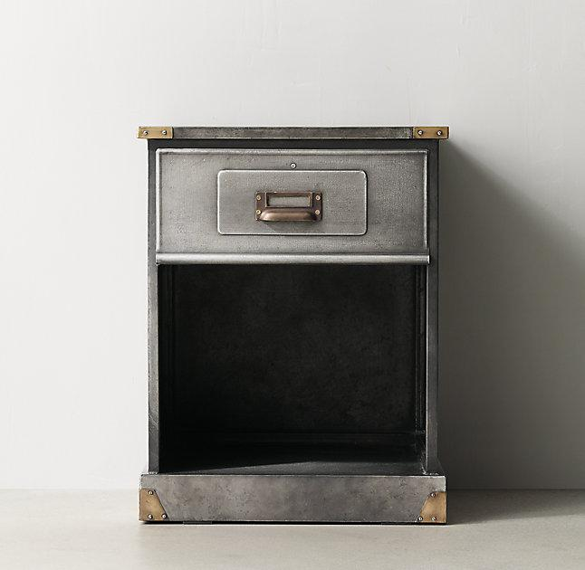 niles aged steel nightstand