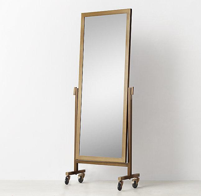 Quinn Brass Floor Mirror