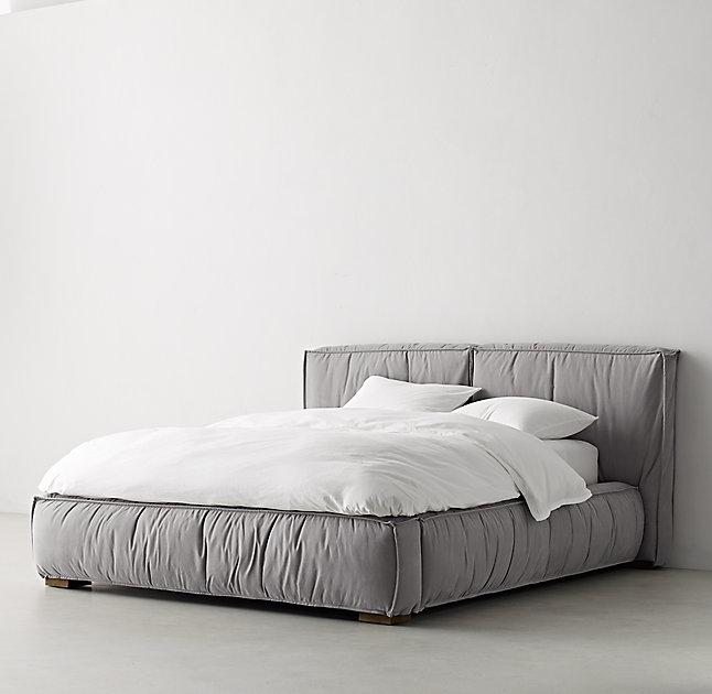 pretty nice 8941e 89d01 Sona Grey Upholstered Platform Bed