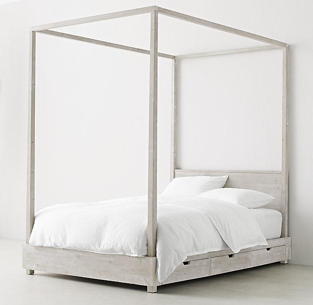 Callum 3 Drawer Weathered White Storage Canopy Bed & 3 Drawer Weathered White Storage Canopy Bed
