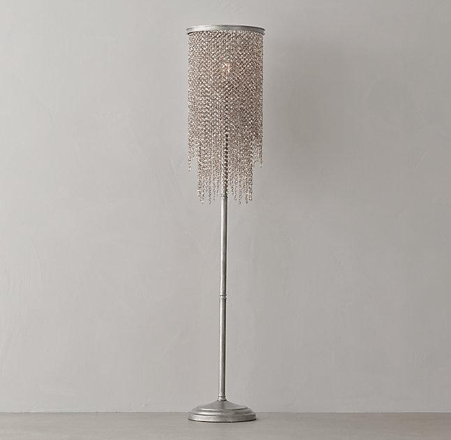 athena smoke crystal silver floor lamp
