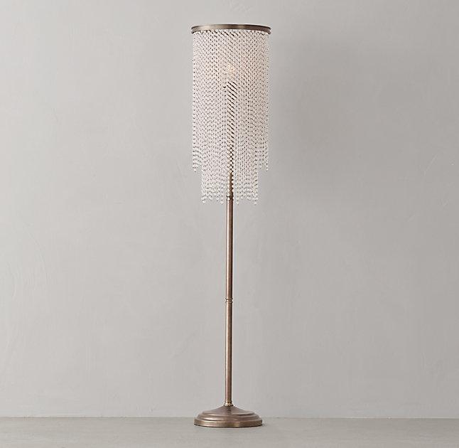 Athena Clear Crystal Brass Floor Lamp