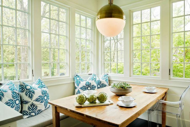 Great Breakfast Nook With Farmhouse Table And Ghost Chairs
