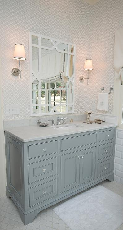 Gray Washstand With White Trellis Mirror Transitional