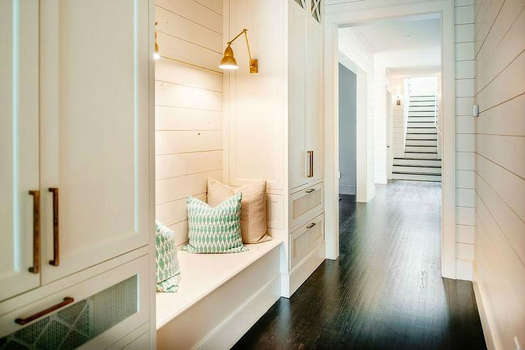 Laundry rooms hall shiplap walls design ideas for Mudroom dimensions