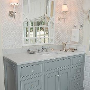 Gray Arabesque Bathroom Tiles Design Ideas