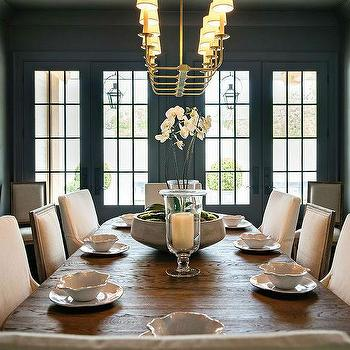 Black Dining Room With Mixed Dining Chairs