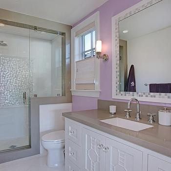 Jack and jill shower with frosted glass doors for Purple glass bathtub