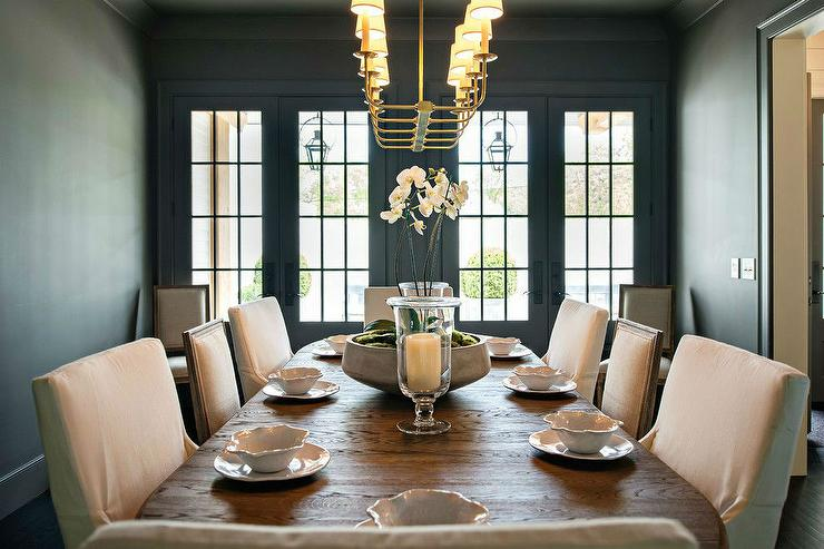 Black Dining Room With Mixed Dining Chairs View Full Size