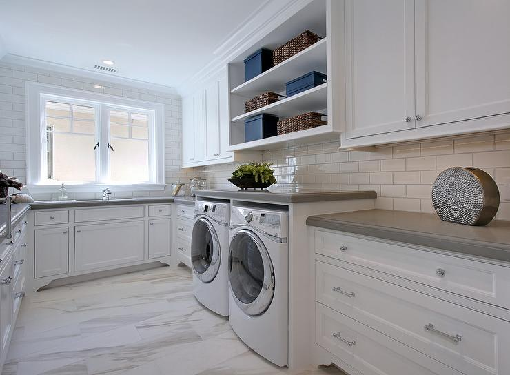 Open shelving over enclosed washer and dryer for Shelf above washer and dryer