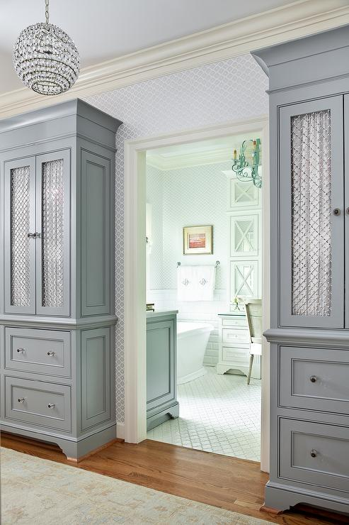 Tall Gray Cabinets With Chicken Wire Doors Transitional
