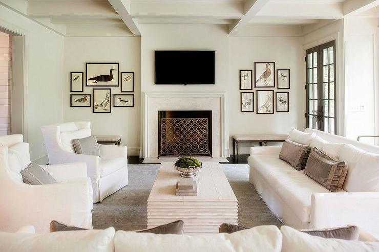 White Living Room With Tv Over Fireplace Transitional Living Room