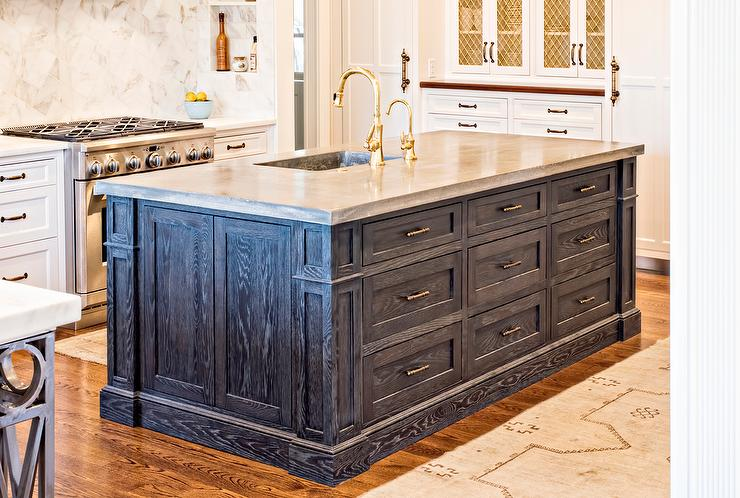 Superb Blue Oak Kitchen Island With Zinc Sink