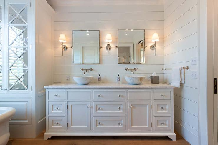 Master Bathroom With Statuary Marble Pencil Rail