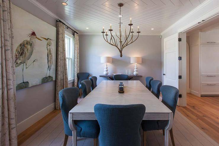 Gray Dining Room table with Blue Wingback Dining Chairs ...