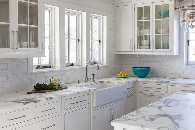 white tile kitchen countertops. Delighful White Calcutta Gold Marble Kitchen Countertops With White Subway Tiles For Tile