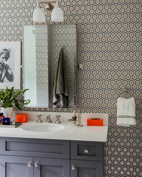 Gray Washstand With Black And Gold Hicks Hexagon Wallpaper Contemporary Bathroom
