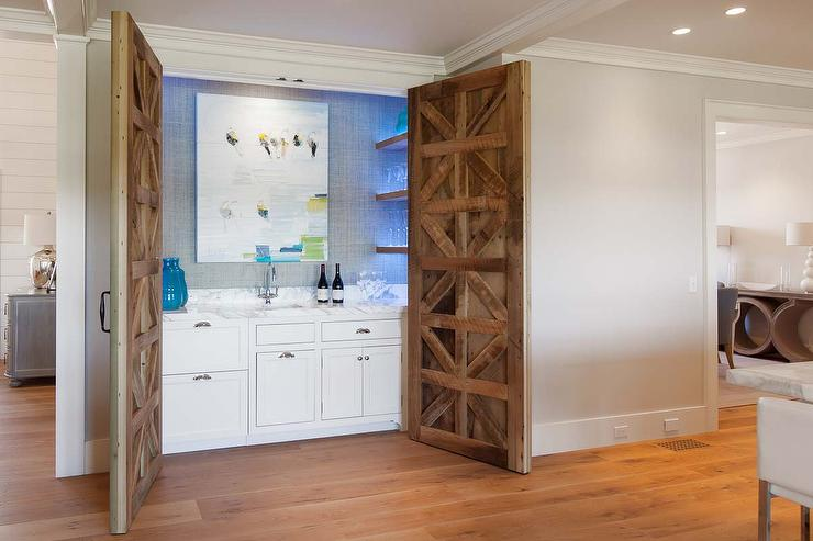 Hidden Wet Bar With Carved Wood Doors Contemporary Kitchen