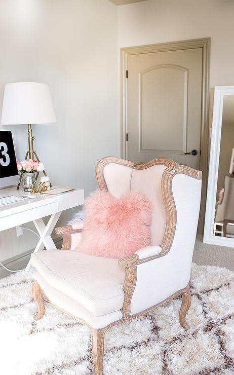 Pink And Gray Office With Pink Velvet Two Tone Wingback