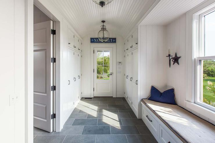 Long cottage mudroom with beadboard barrel ceiling for Mudroom floors