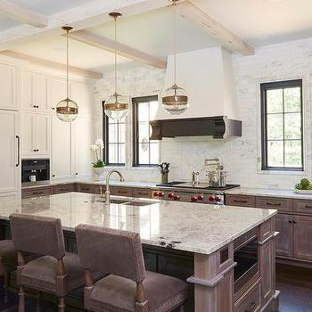 White And Brown Kitchen With Fantasy Brown Granite
