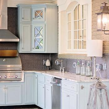 Blue Kitchen Cabinets With Dark Gray Penny Tiles