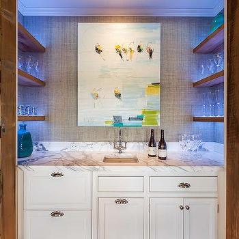 hidden wet bar with carved wood doors contemporary kitchen wet bar wall shelves Floating Shelves