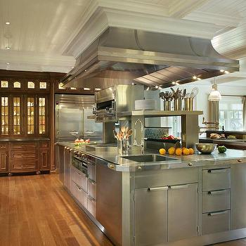 Oversized Stainless Steel Center Island With Stacked Warming Drawers