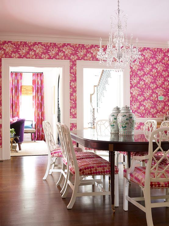 Pink Dining Room with White Dining Chairs and Oval Dining Table ...