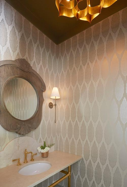 Powder Room With Brown Ceiling And Silver Metallic Wallpaper Transitional Bathroom