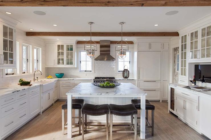 Calcutta Kitchen Island With Brown Leather Saddle Back Counter - Lights to hang over kitchen island