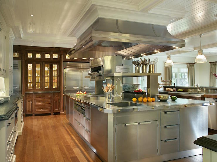 Oversized Stainless Steel Center Island With Stacked Warming Drawers Traditional Kitchen