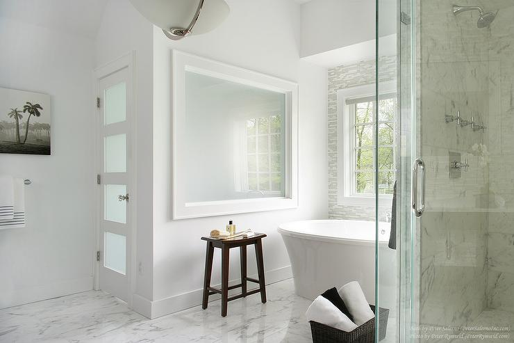 Contemporary Bathroom With Statuay Marble Tile Floor View Full Size