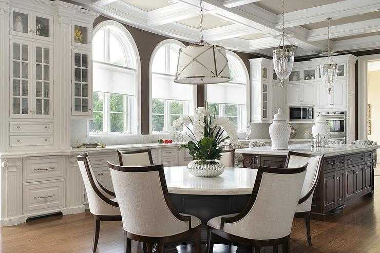 White and Brown Kitchen with Coffered Ceiling - Transitional - Kitchen