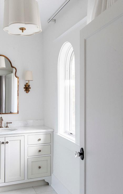 White And Gold Bathroom With Barbara Barry Simple Scallop