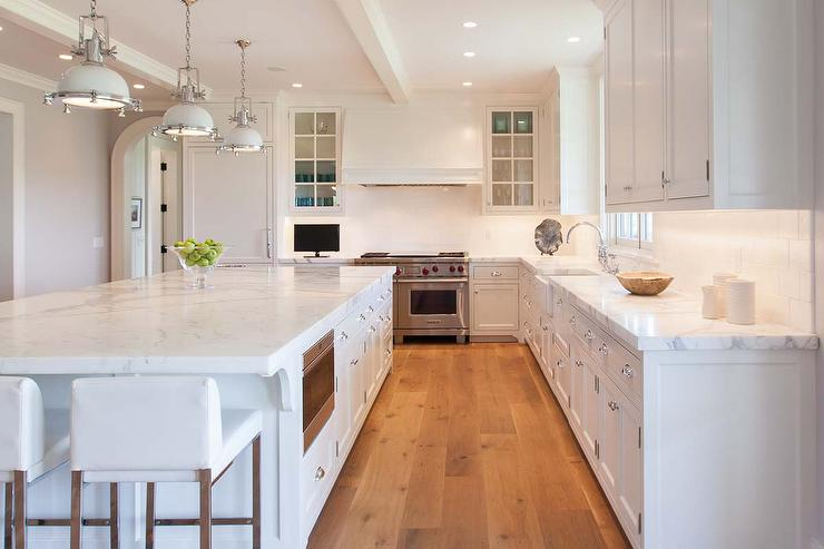 White Kitchen Oak Floor all white kitchen with dark wood floors - transitional - kitchen