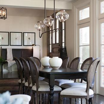 French Sunken Dining Room With Cane Back Chairs