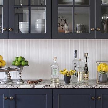 Navy Blue Kitchen Cabinets With Beadboard Backsplash