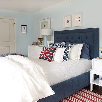 red and blue bedroom with baby blue lamps