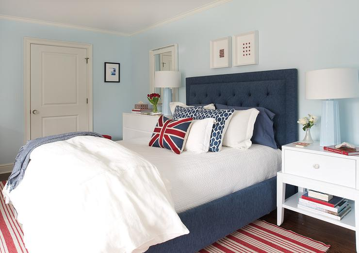 red and blue bedroom with baby blue lamps contemporary bedroom