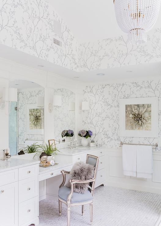White And Silver Master Bathroom With Schumacher Twiggy Silver Wallpaper Transitional Bathroom